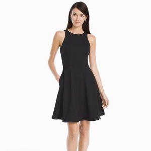 WHBM SLEEVELESS BLACK PONTE FIT& FLARE DRESS sz 8
